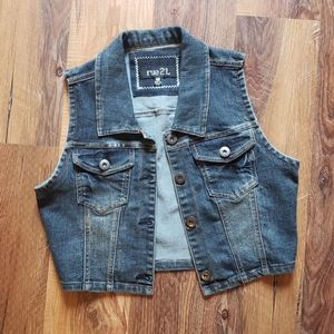 Rue 21 crop length denim vest